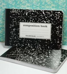 Such a cool idea. She had the office max/depot store cut her comp book in half and then dressed it up for a recipe book.