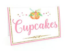 Editable Pink and gold food tent card pumpkin by Kattygoodparty