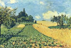 Grainfieldson thehills ofArgenteuil, Oil On Canvas by Alfred Sisley (1839-1899, France)