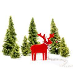 Red Reindeer NecklacePlexiglass JewelryLasercut by bugga on Etsy