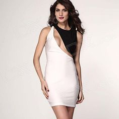 LC2983 Sexy Low-cut Back Bodycon Midi Dress - White + Black