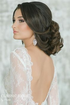 wedding updo and open back long sleeves wedding dress