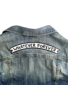 """Top rocker-inspired banner for when you're feeling like whatever. Large 9""""; wide patch Emroidery on twill Iron-on backing Large patches may need to be reinforced"""