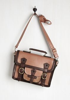 Cottage Visit Bag. Packed with a good read and all the other necessities, this vegan faux-leather satchel accompanies you on a day trip away from it all. #tan #modcloth