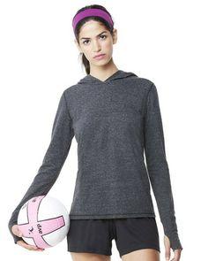 Alo Sport Women's Triblend Long Sleeve Hooded Pullover Solid Black W3101 – ComfortWearables