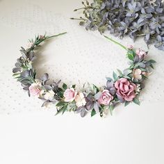 Dusty flower crown Dusty pink grey flower crown Bridal dusty flower crown Dusty flower headpiece Boho Bridal dusty flower crown Dusty halo