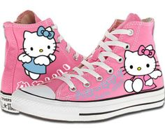 Hand Painted Converse. Hello Kitty. Kawaii. Pink Background.