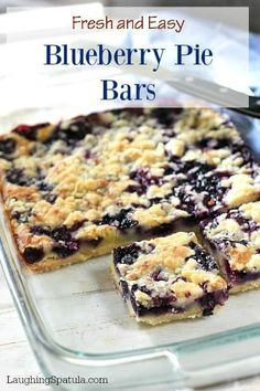 Easy Blueberry Pie Bars! - If you make these once, you will make this a hundred times! #cookiebar #blueberryrecipes #easybars