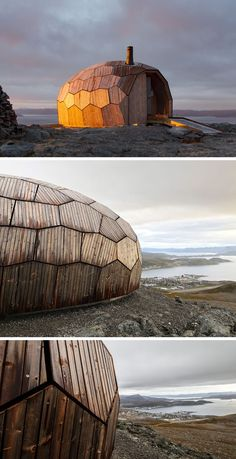 [original_tittle] – contemporist [pin_tittle] A series of Norwegian day-trip cabins have been designed with an egg-shaped, faceted stone-like appearance made from wood. The rounded shape naturally helps to clear snow, and reduce wind pressure. Baroque Architecture, Architecture Wallpaper, Futuristic Architecture, Interior Architecture, Architecture Layout, Architecture Portfolio, Residential Architecture, Computer Architecture, Drawing Architecture