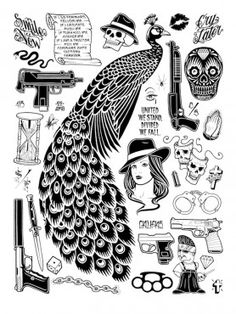 """Mike Giant Peacock print """"Mike Giant's career is the result of genuine curiosity and decades of drawing for five hours a day. He's been—and remains—a world-class graffiti writer, tattooist and illustrator with his REBEL8 line.He travels all over the world, rides his bikes, practices mindfulness, smokes a gang of weed, and is a fully tattooed goofball that one can bring to dinner parties."""" Caleb Neelson - Swindle Magazine"""