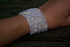 Wedding Bridal Bridesmaid Swarovski Crystal Cuff Bracelet AB Swarovski Bracelet Crystal Jewelry Wedding Party Swarovski Crystal AB Bracelet by AuroraCrystalPassion on Etsy