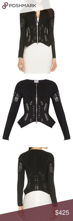 Herve Leger Cheyenne Garter Jacket Perfect statement piece! Pair it with skinny jeans or a little black dress and heels.New with tags, sold out on the Herve website and on Shop Bop. Heavy bandage material, authentic. High end luxury designer. Herve Leger Jackets & Coats Blazers