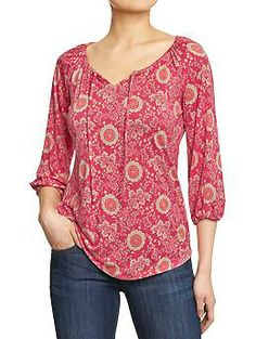 Old Navy Womens Jersey Boho Tops - Warm floral Vestidos Nancy, Autumn Fashion Women Fall Outfits, Mode Plus, Work Tops, Old Navy Women, Party Fashion, Women's Fashion Dresses, Blouse, Couture