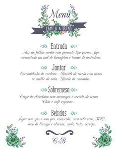 Menu para casamento # #menu #cardapio #Casamento #floral #casamentorustico #rustico #suculentas