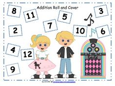 50th Day of School Roll & Cover Number Recognition & Addition