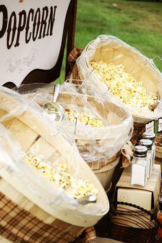ideas for party snacks easy cheap popcorn bar Wedding Food Bars, Wedding Reception Food, Fall Wedding, Rustic Wedding, Wedding Favors, Wedding Stuff, Wedding Props, Wedding Crafts, Wedding Desserts