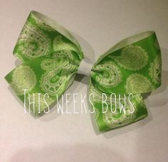 Lime Green Paisley Print Hair Bow by ThisWeeksBows on Etsy, $5.00