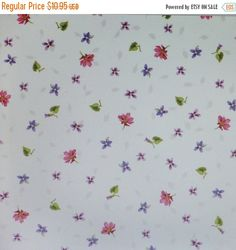 FANTASTIC SALE Adalees Garden~Tiny Flowers on Cream~Floral Cotton Fabric, Quilt,~Red Rooster~Fast Shipping F598