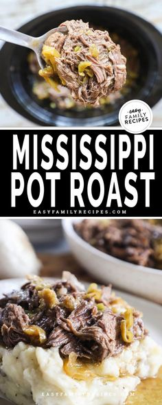 The most TENDER, FLAVOR FILLED Mississippi Pot roast made in a crock pot. This easy slow cooker dinner idea is perfect for a busy day. You can dump and go while the crockpot does all the work cooking the beef to perfection. This recipe serves a crowd and is perfect for serving with mashed potatoes, or making Mississippi Pot Roast Sandwiches.