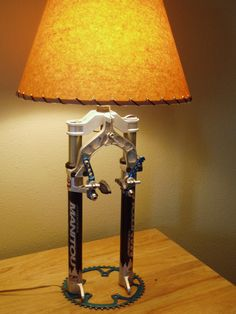 A reading lamp made with #recycled bicycle parts