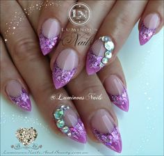 Luminous Nails: Pretty Orchid Acrylic Nails with Crystals