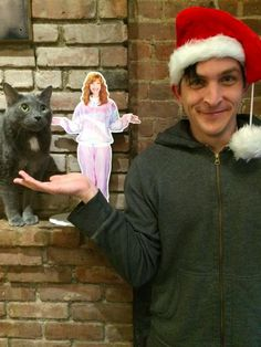 A very grey kitty Christmas. . . and Robin Lord Taylor.