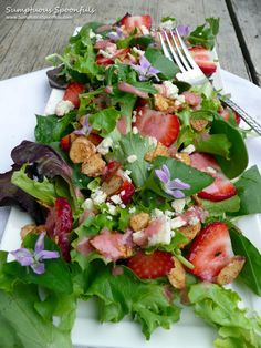 Strawberry Almond Wild Violet Salad with blue cheese and fresh strawberry almond vinaigrette~ Sumptuous Spoonfuls #salad #recipe