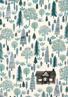 finding the time to check out all the awesome stuff you're posting though! Anyway, here is a nice little cabin in the woods - I'd quite like to be there now, instead of doing my Uni work. You can buy it as a print here! Art And Illustration, Pattern Illustration, Christmas Illustration Design, Art Illustrations, Whatsapp Wallpaper, Little Cabin, Pretty Patterns, Pics Art, Christmas Wallpaper