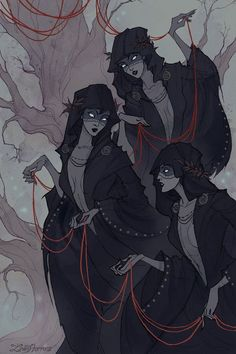 The Norns in Norse mythology (or Moirai - in Greek mythology) are female beings who rule the destiny of. art by IrenHorrors Arte Horror, Horror Art, Greek Mythology Art, Norse Mythology, Character Concept, Character Art, Concept Art, Fantasy Kunst, Fantasy Art