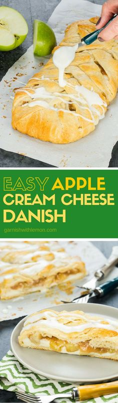 This Easy Apple Cream Cheese Danish is a tasty addition to any brunch! Filling can be prepped ahead of time and the dough is crescent rolls so it's simple to prepare. Read Recipe by garnishwlemon Breakfast Pastries, Breakfast Dishes, Puff Pastries, Breakfast Recipes, Apple Cream Cheese Danish Recipe, Apple Recipes, Sweet Recipes, Brunch Recipes, Dessert Recipes