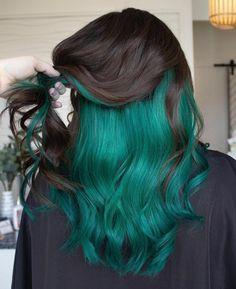 Green Hair Colors, Hair Color Purple, Cool Hair Color, Darker Hair Color Ideas, Crazy Hair Color Ideas For Brunettes, Creative Hair Color, Cute Hair Colors, Color Your Hair, Hair Dye Colors