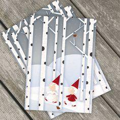 Set di 3 Biglietti di Natale - Gli gnomi del bosco. $9,00, via Etsy.