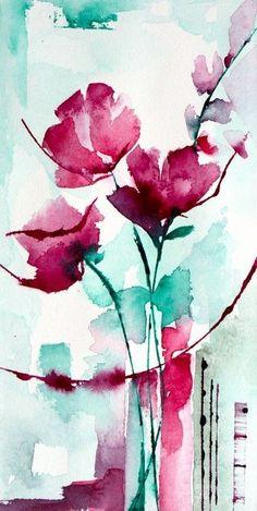 Petit instant N° 301 (Painting), 20x10 cm par Véronique Piaser-Moyen Aquarelle originale sur papier 300 G #watercolorarts
