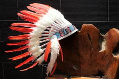 Check out FLUOR COLLECTION: Orange Indian Warbonnet .Native American Style Feather Headdress on theworldoffeathers