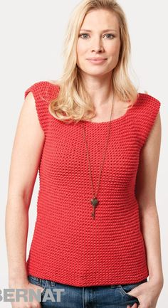 Free knitting pattern for Garter Stitch Tank - This Bernat sleeveless top is so easy it's recommended for beginners. Quick knit in chunky yarn. Sizes XS through 5XL.