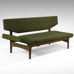 Arne Hovmand Olsen; Teak Frame Adjustable Sofa for Mogens Kold of Denmark, 1950s.