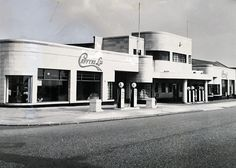 The actual seafront auto showroom (referred to in Chapter 10 of James Orlando's novel 'The Jade Nomad') sadly now demolished & replaced in 2013 by an apartment block: Kingsway, Brighton & Hove, UK. Bauhaus, Old Garage, Art Deco Buildings, Brighton And Hove, Thriller Books, Art Deco Era, Local History, Diners