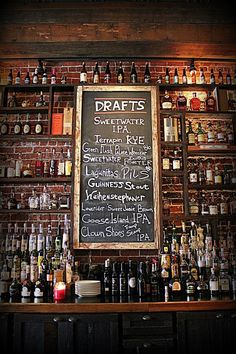 Would love to build a wall like this for a future basement bar. The Family Dog | Photo By Ale Sharpton Pub Design, Bar Interior Design, Restaurant Design, Restaurant Bar, Back Bar Design, Sport Bar Design, Vintage Restaurant, Irish Pub Interior, Irish Pub Decor