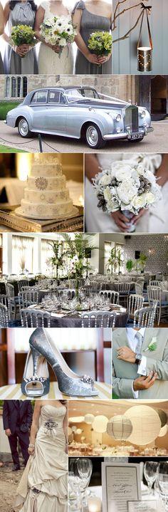 Grey Silver Colour Palette, Grey Silver Wedding Inspiration Board