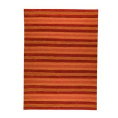 Hand-woven of 100-percent New Zealand wool , this luxurious rug is a welcome addition to any decor.  This rug showcases a striped pattern in rich shades of orange and rust orange.