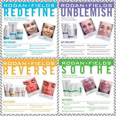 Hello Lovelies!!! Here are the 4 regimens that Rodan + Fields offers! They are all four wonderful regimens but for different concerns. Visit my website and complete the Solution Tool to see which is RIGHT for you! https://rhondaduggan.myrandf.com/Pages/OurProducts/GetAdvice/SolutionsTool    Make sure you keep clicking the right arrow key until you get to the email screen then put your email in so it will send you which regimen is right for you. You can also email me at rhondaduggan@yahoo.com