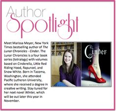 Be sure to check out this week's #AuthorSpotlight, Marissa Meyer. #NewYorkTimesBestSeller #YABooks