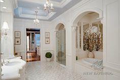 Pale Blue Ceiling  Sophie stone mosaic bath | New Ravenna