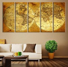 CANVAS ART Print - Vintage World Map Canvas Print, X Large Art Vintage  World Map, Extra Large Brawn Old  World Map Print