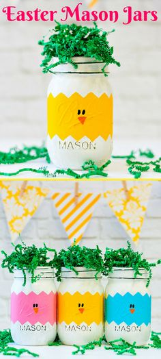 Absolutely love these colorful Easter Peep Inspired Mason Jars! How cute! Easter Peeps Mason Jars - Easter Chicks in Eggs Mason Jars - Easter Mason Jars - Painted Distressed Mason Jars #Ad #masonjar #masonjarcrafts #easter #homedecor