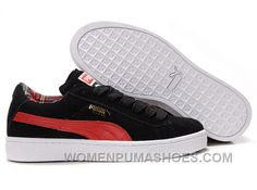 954f03284b Women's Puma Suede Black-Red Lastest PD7hs. Suede Trainers, Puma Sneakers, Pumas  Shoes ...