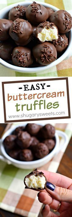 Buttercream Truffles Shugary Sweets these came out of the need to use up extra frosting Now they are the perfect treat to make anytime Fudge Recipes, Candy Recipes, Sweet Recipes, Holiday Recipes, Dessert Recipes, Baking Desserts, Cake Truffles, Cupcakes, Chocolate Truffles