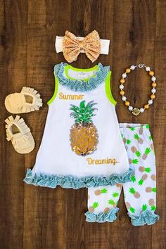 """Summer Dreaming"" Sequin Pineapple Ruffle Capri Set"