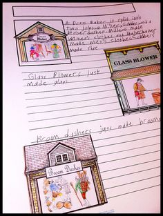 "Great idea! Heather used pieces from the ""Trip to Town"" file folder game to create customized notebooking pages of colonial occupations! Talk about 'repurposing'!"