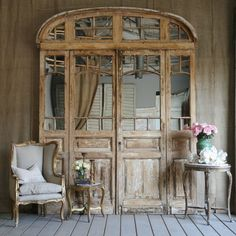 putting mirror in an old entry door - fabulous!